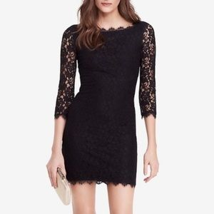 DVF Zarita Lace Sheath Dress Black Sz 0